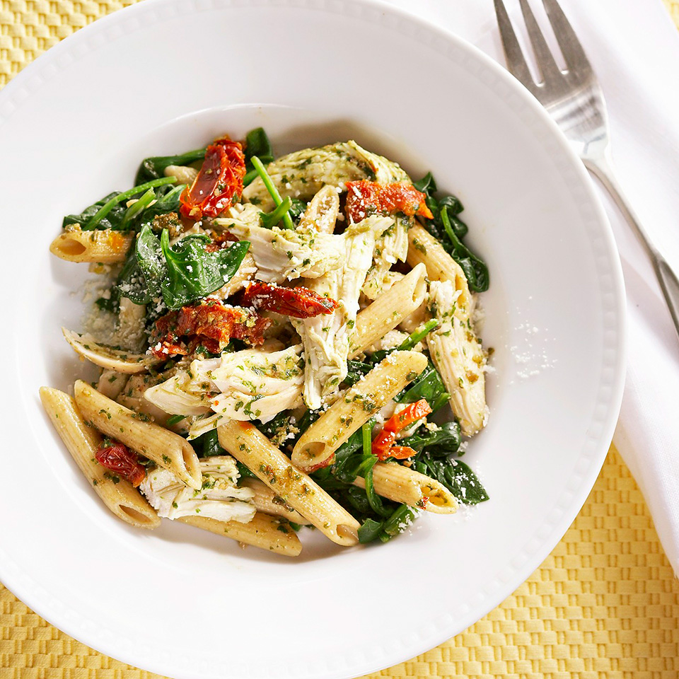 Lemon-Garlic Chicken Penne with Pesto and Spinach