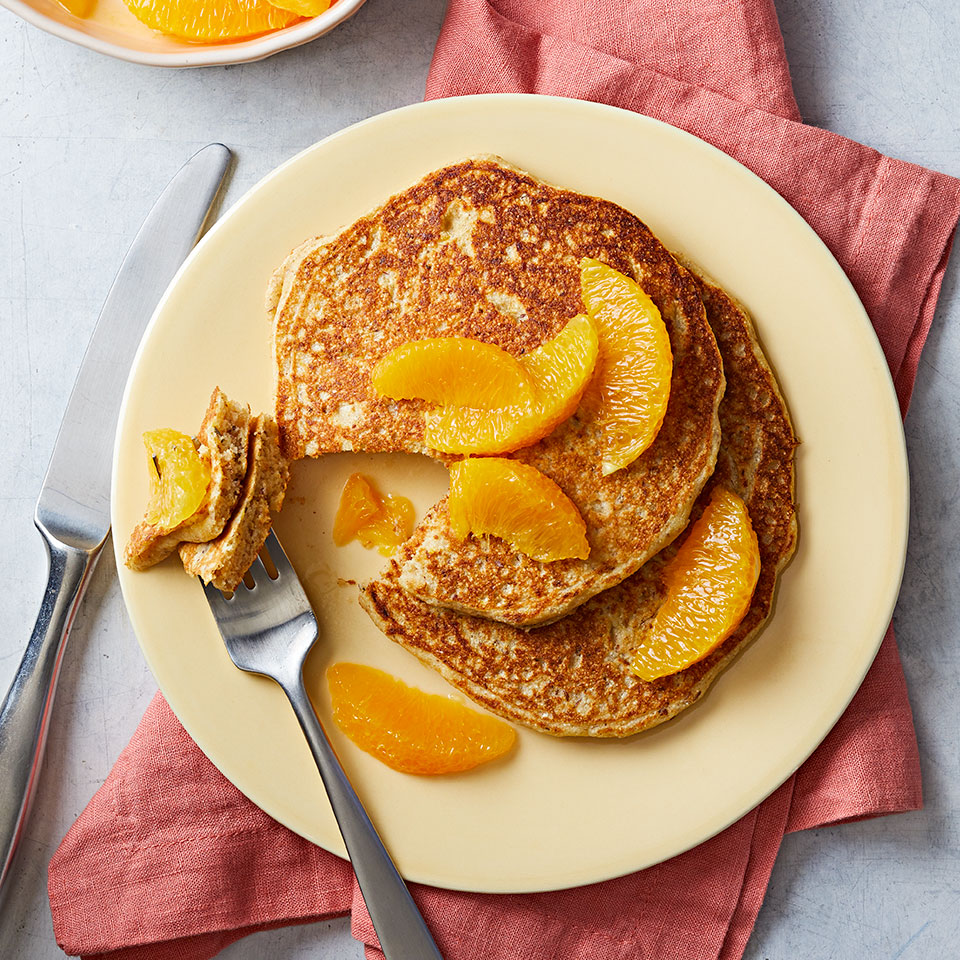 Boost your breakfast with vitamin C and potassium by topping your whole-grain pancake stack with segmented oranges, which are an excellent source of both. Source: Diabetic Living Magazine, Winter 2019