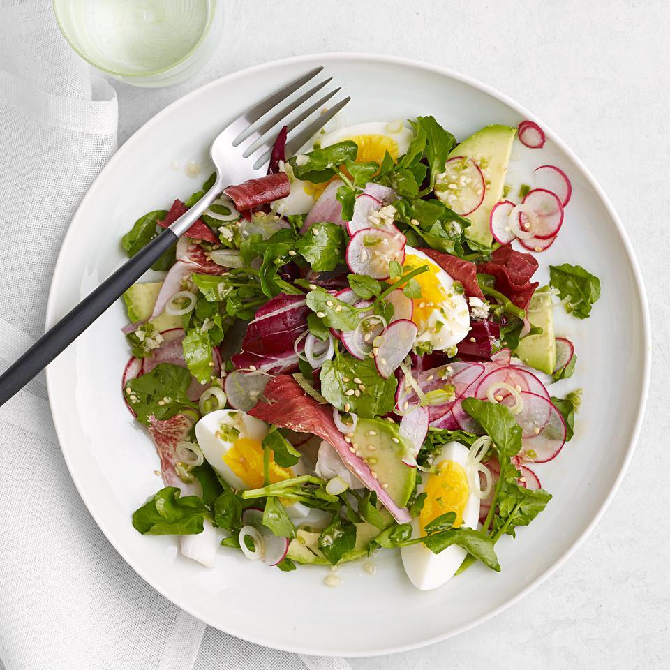 Avocados, radishes and scallions top this watercress and radicchio salad recipe with a fish-sauce-spiked dressing to make a vibrant spring salad. Consider shaking up some extra dressing to toss with your salads throughout the week.