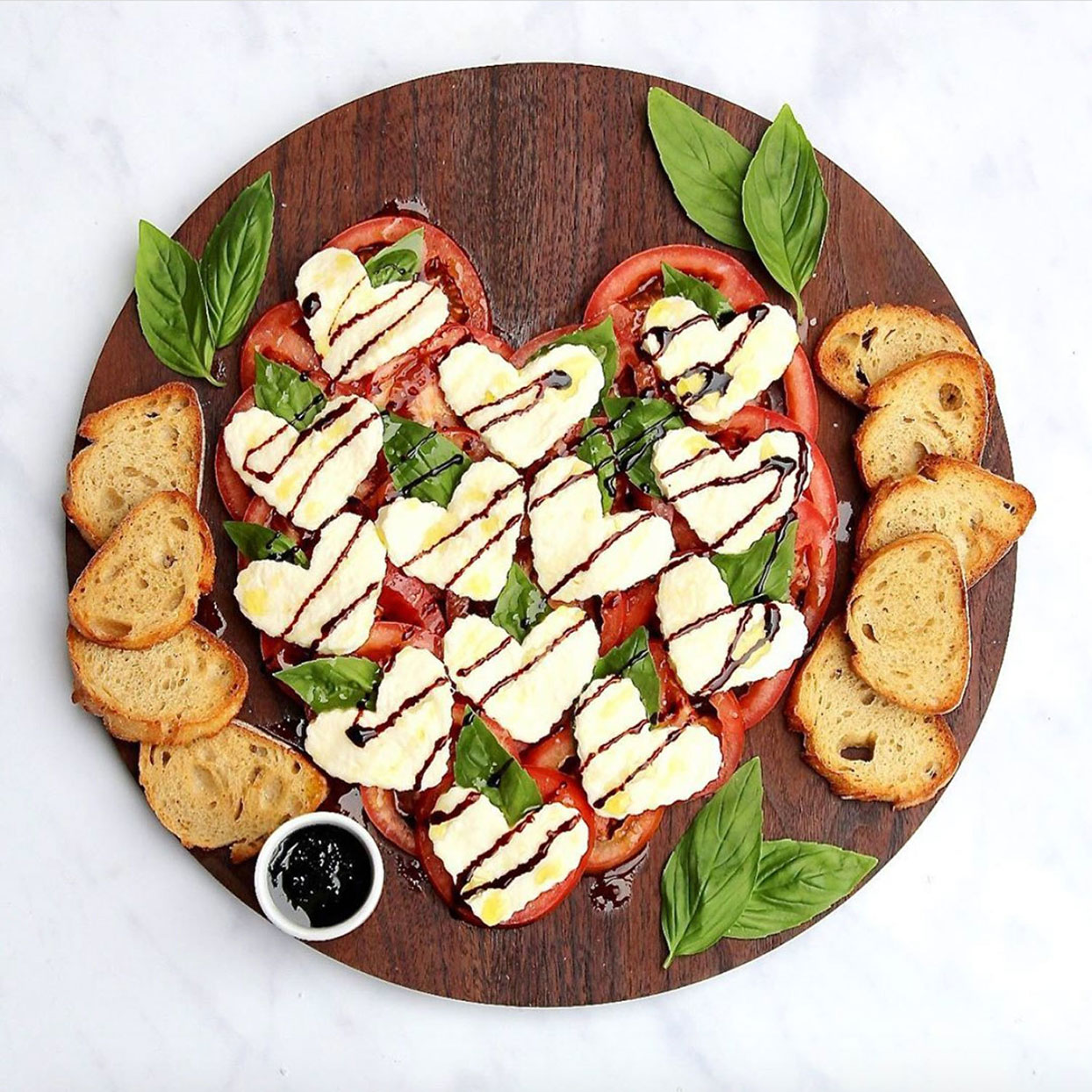 caprese heart salad for Valentine's Day