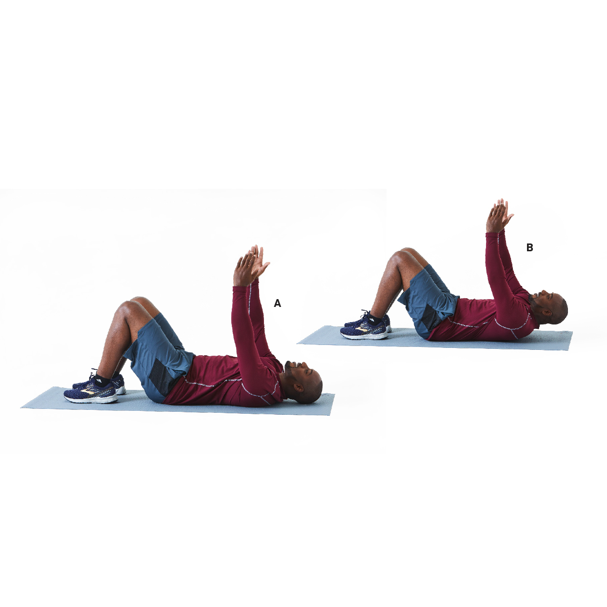 man demonstrating crunches exercise