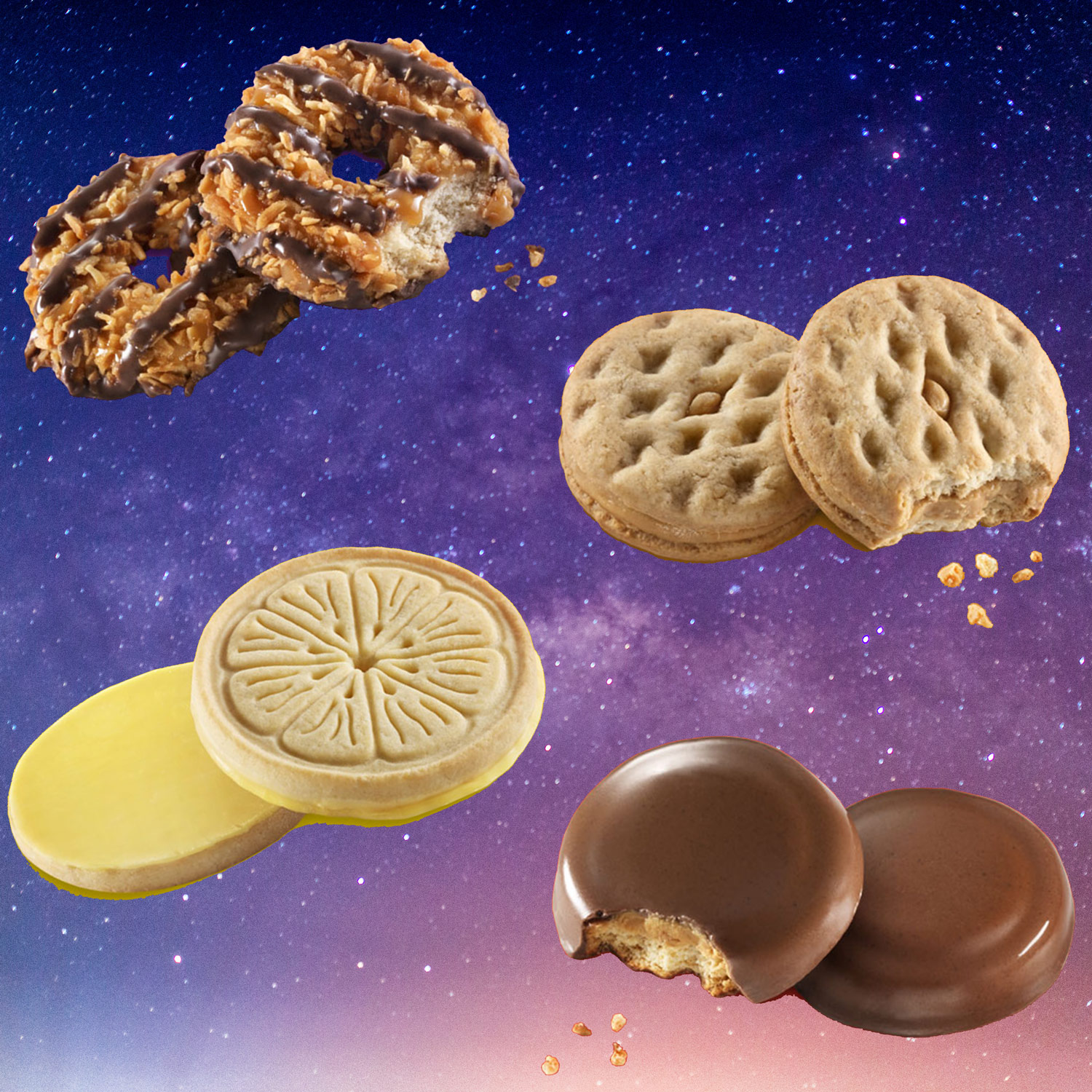 different girl scout cookies against a starry sky background