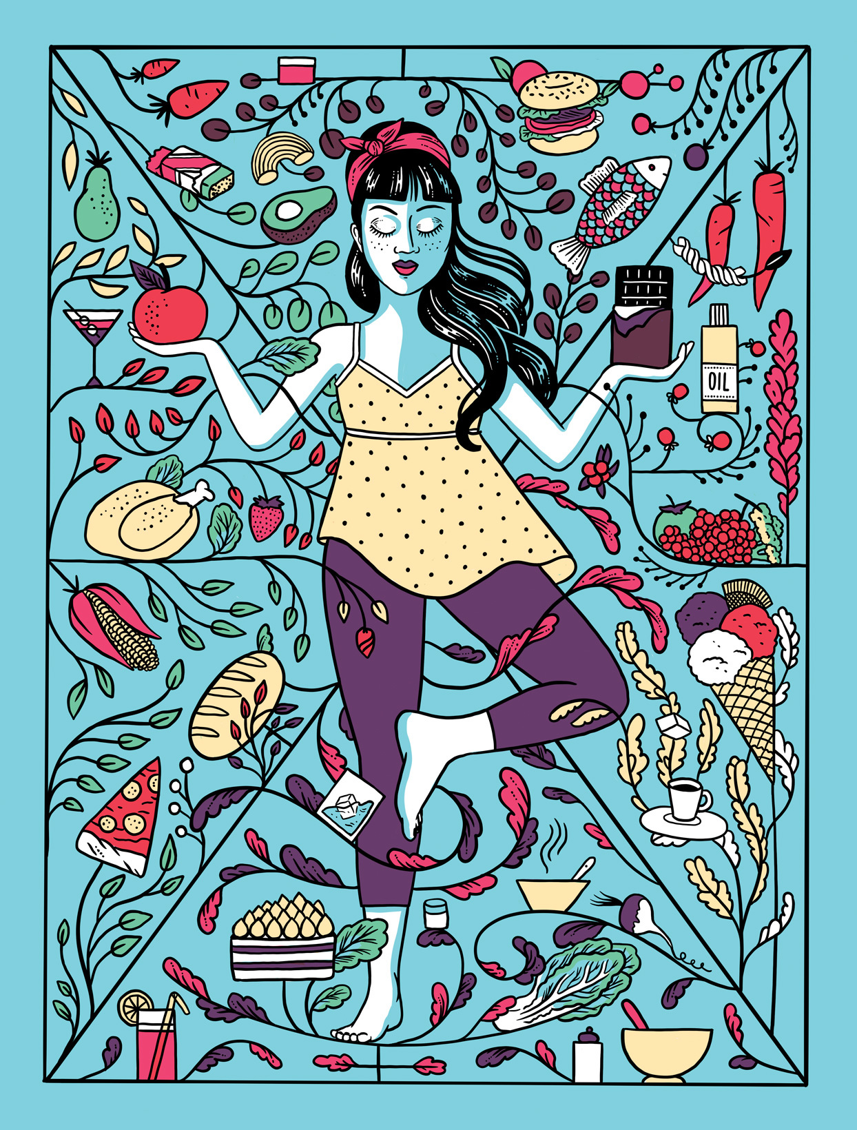 an illustration of a peaceful woman surrounded by food choices