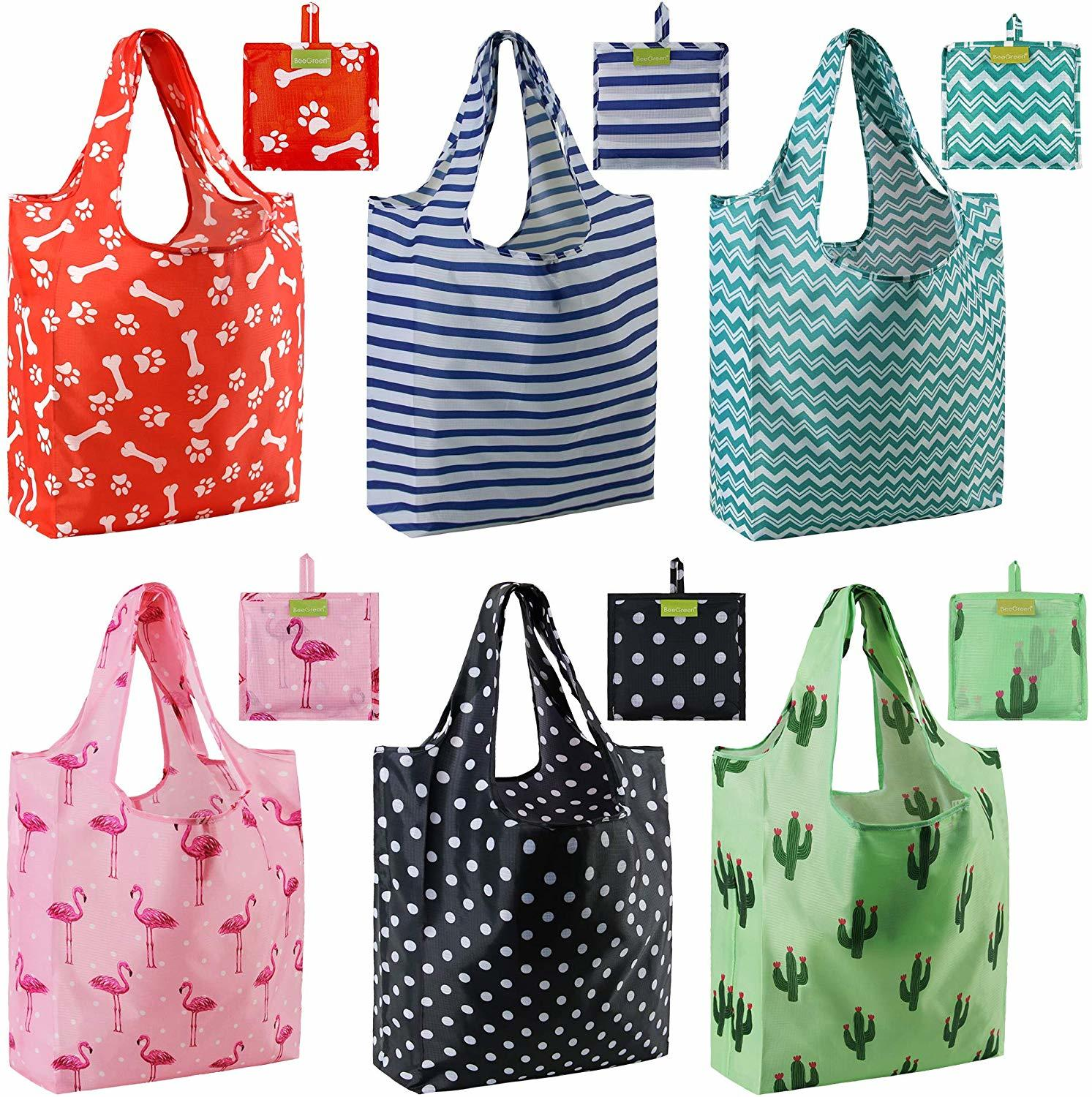 cute patterned reusable grocery bags