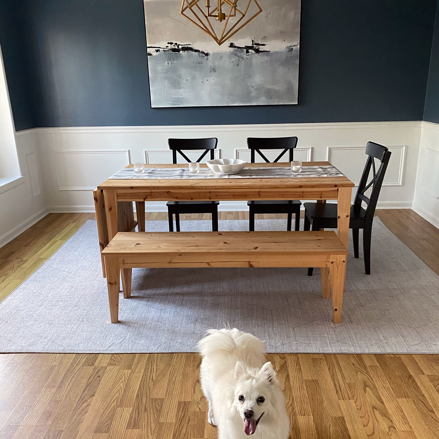 washable rug in a dining room under a dining room table