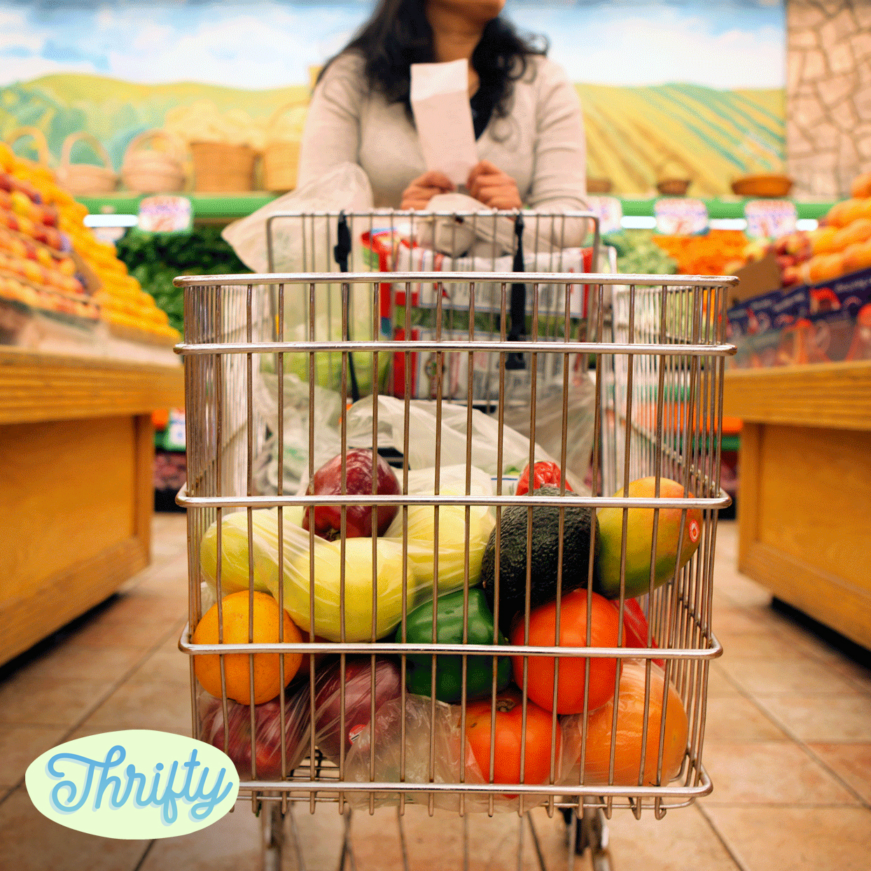 "grocery cart filled with foods, ""Thrifty"" logo"