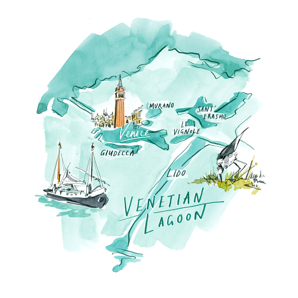 an illustration of Venice and surrounding islands