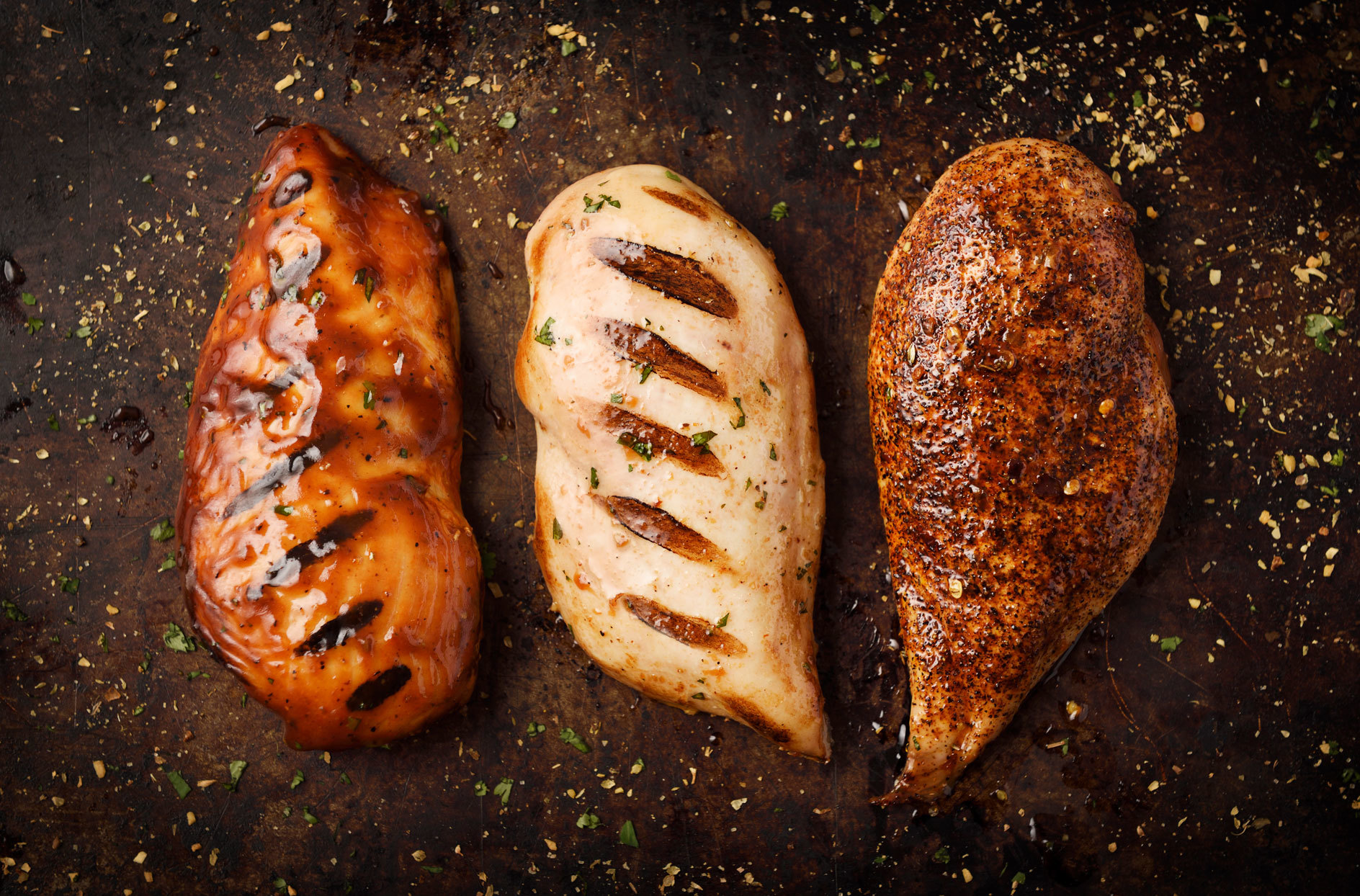 3 chicken breasts, all cooked differently