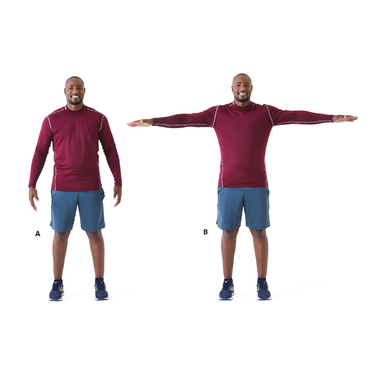 warm up - man demonstrating shoulder raise exercise