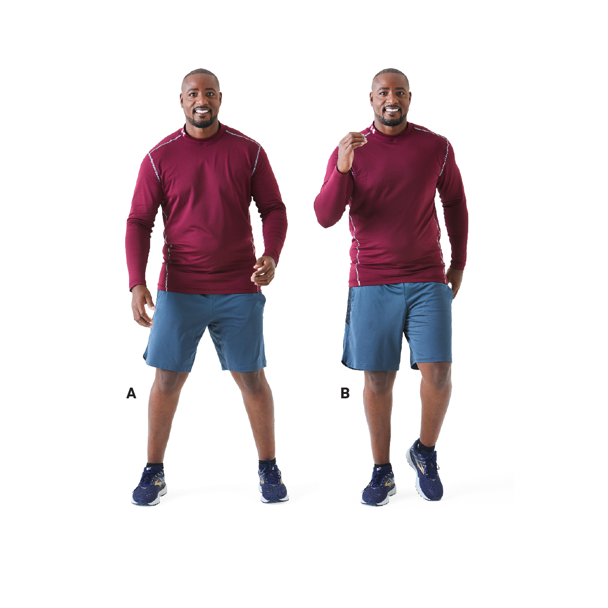 man demonstrating side steps exercise