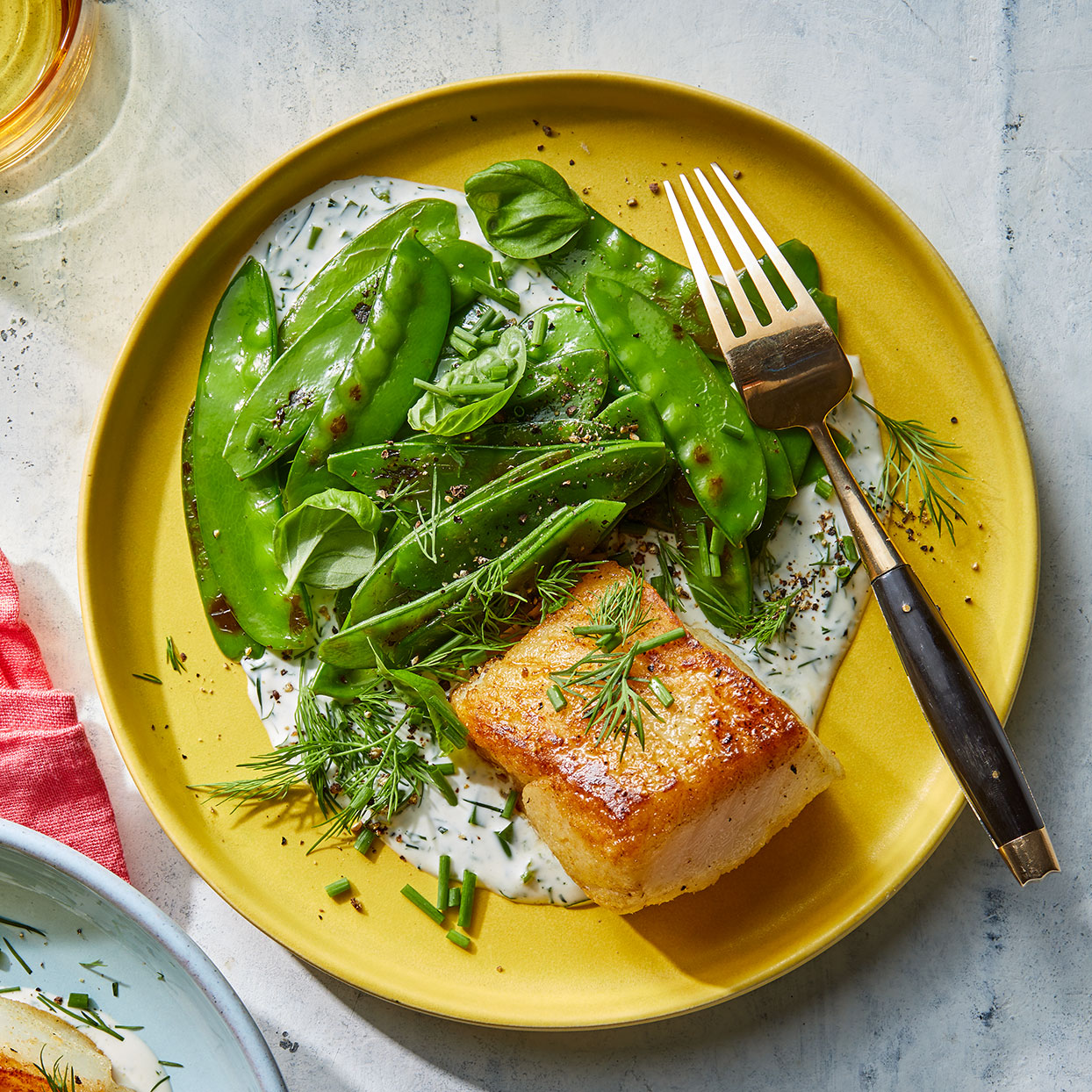 Crispy Cod with Charred Snow Peas & Creamy Herb Sauce