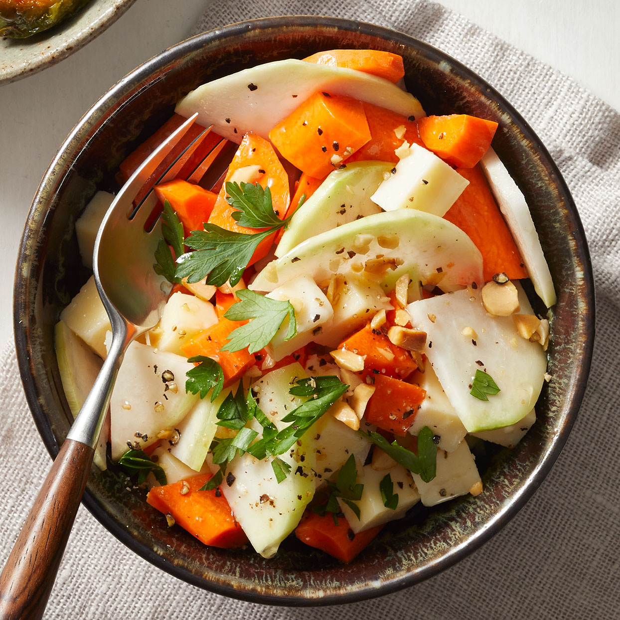 Kohlrabi & Carrot Salad with Cheddar