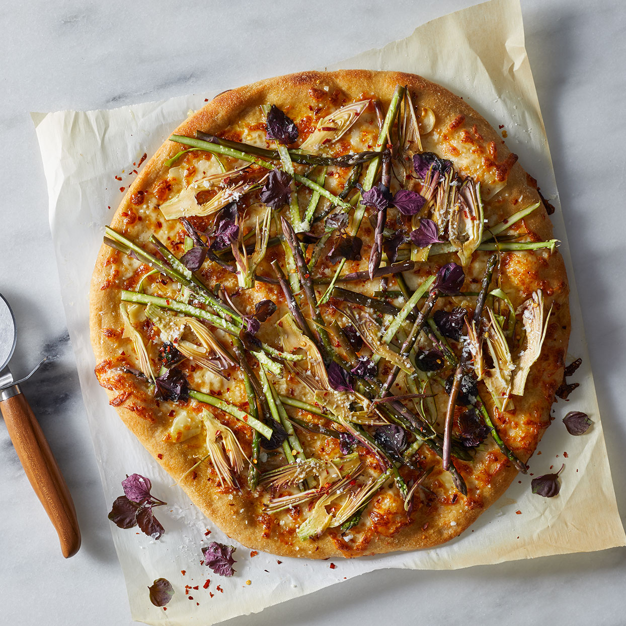 Asparagus & Purple Artichoke Pizza