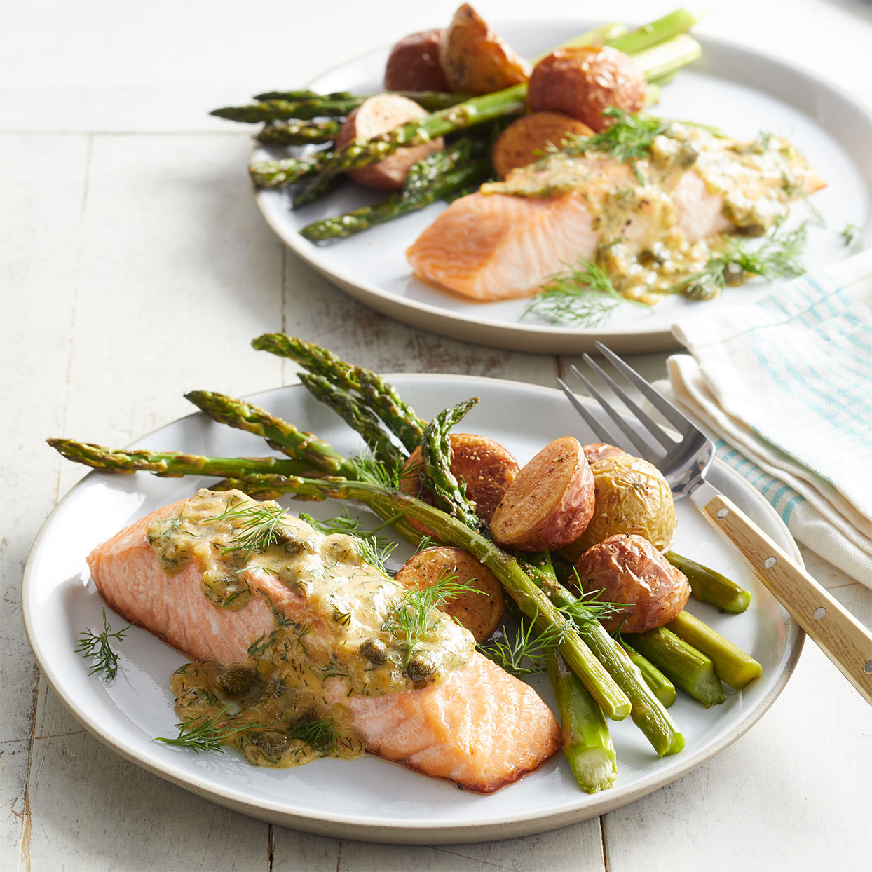Roasted Salmon & Asparagus with Dill-Mustard Sauce