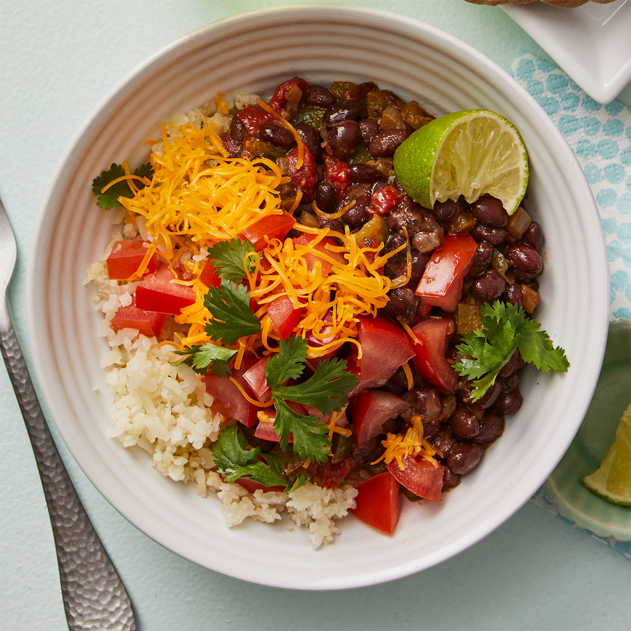 "Black Bean-Cauliflower ""Rice"" Bowl"