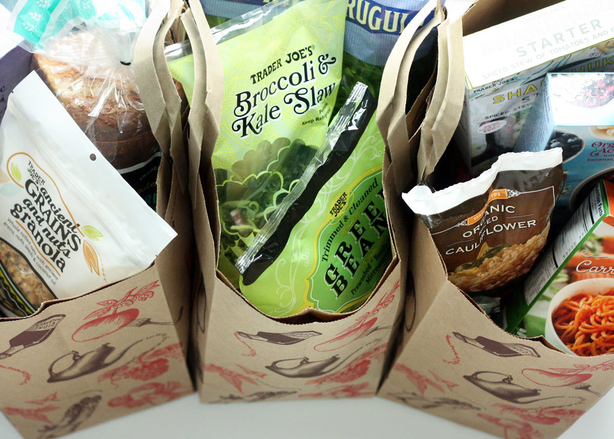 Various Trader Joe's products in bags