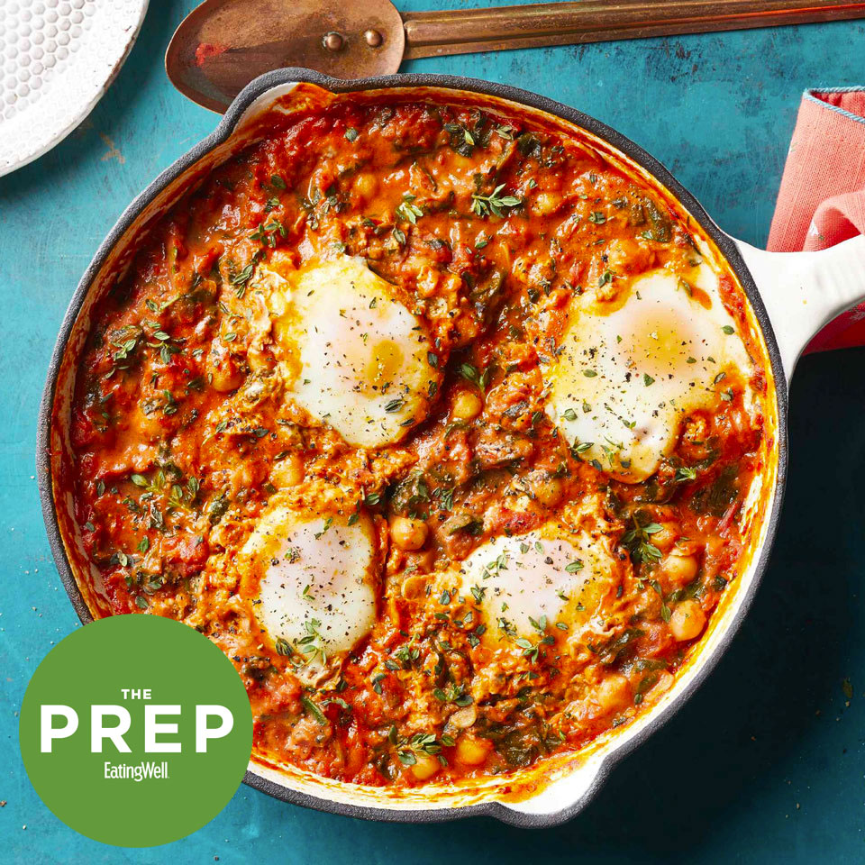 ThePrep logo - on top of a pan of Eggs in Tomato Sauce with Chickpeas & Spinach