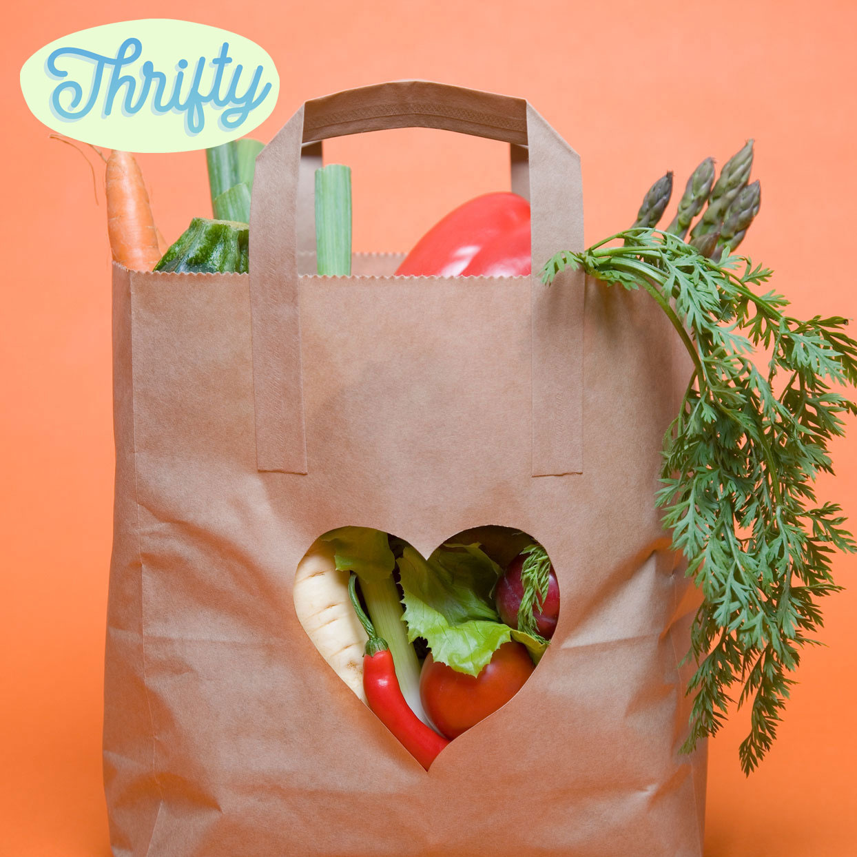 "Paper bag of groceries with ""Thrifty"" logo"