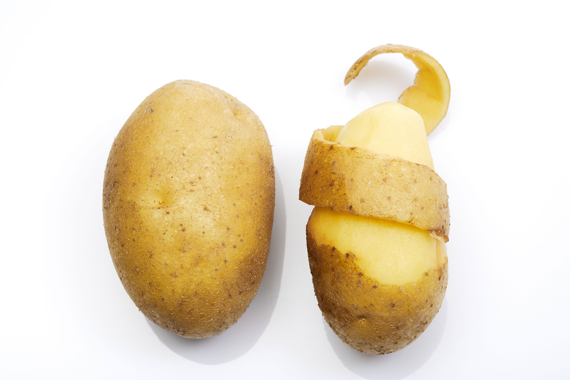 2 potatoes - one half peeled