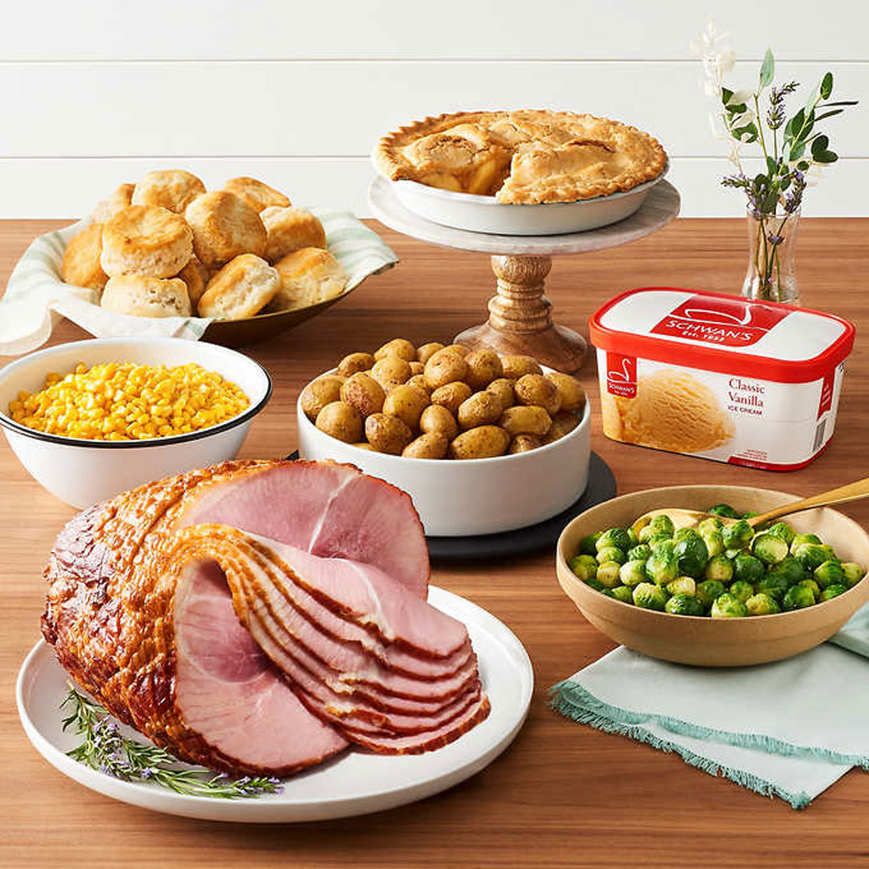 Photo of the items in a Costco Easter dinner