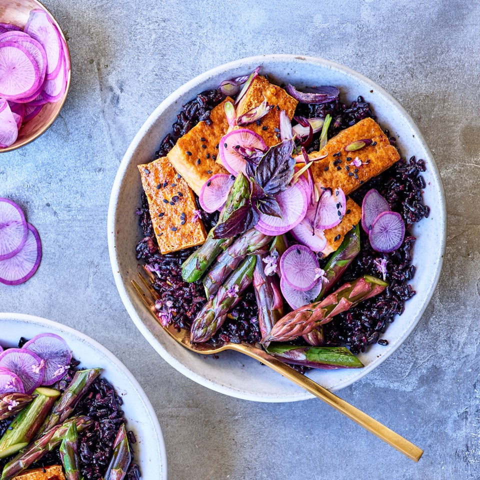 Coconut Black Rice Bowls with Tofu & Purple Asparagus