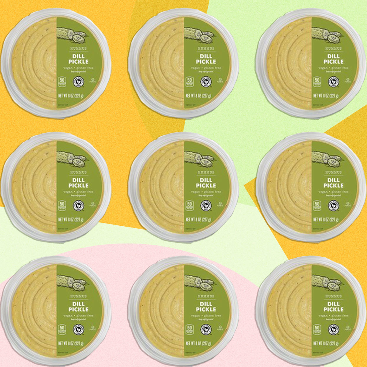 Containers of Aldi pickle hummus