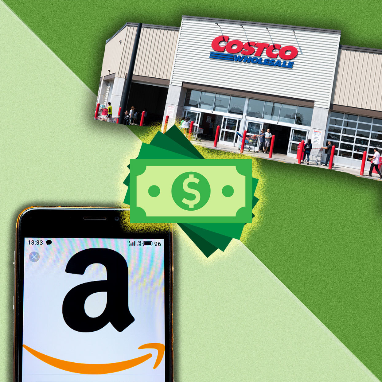 a smart phone with the amazon logo on the screen, a money icon, and an image of the Costco storefront