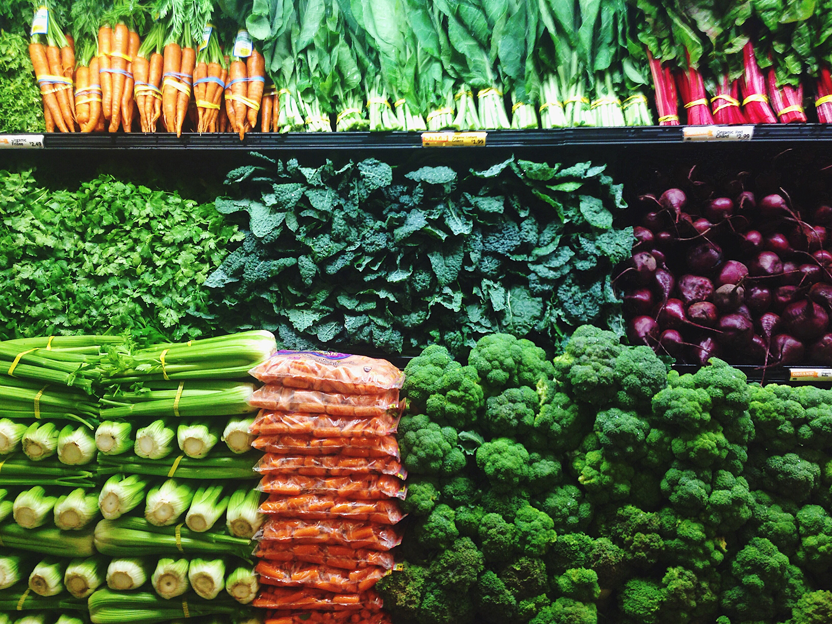 fresh produce in a grocery store