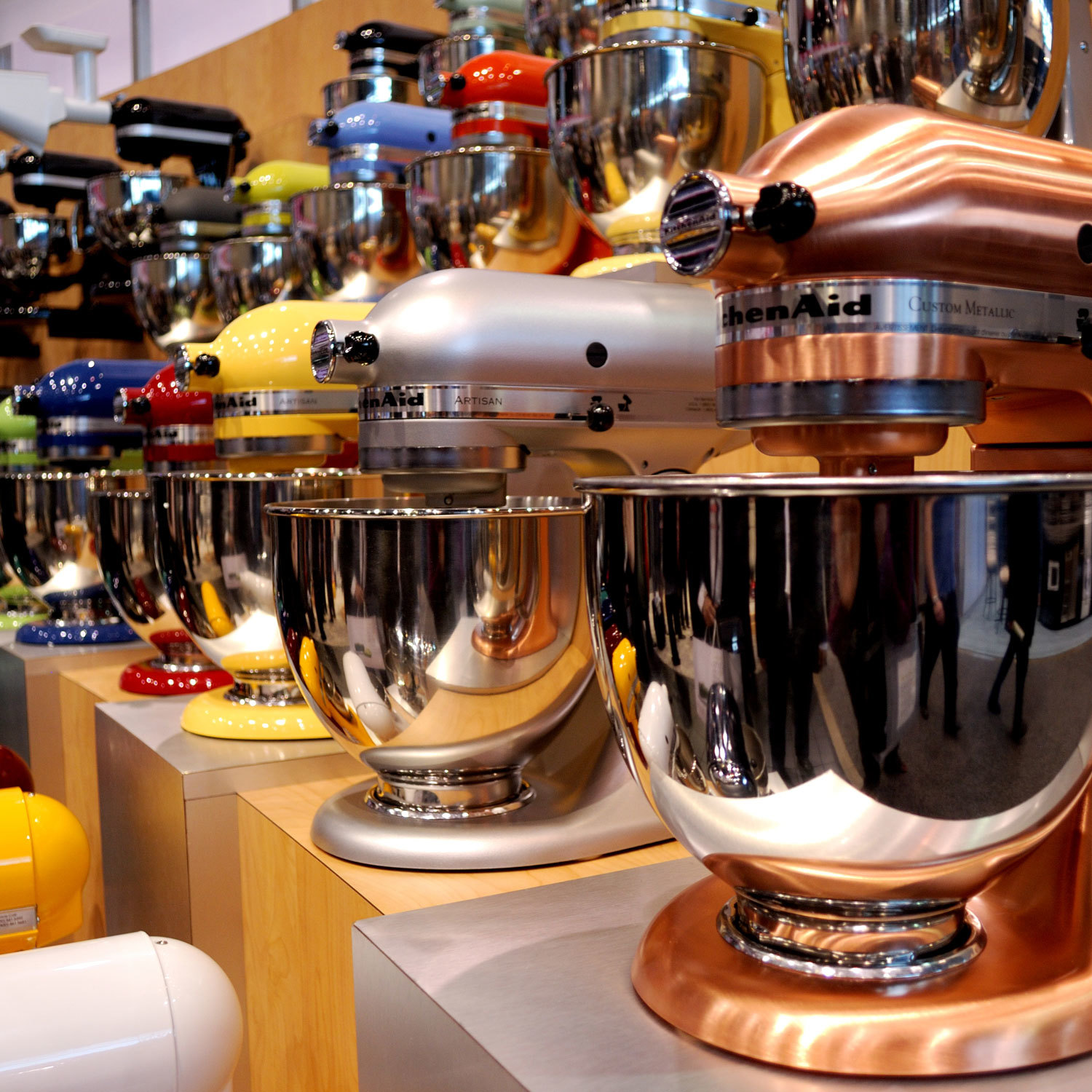 Display of various stand mixers