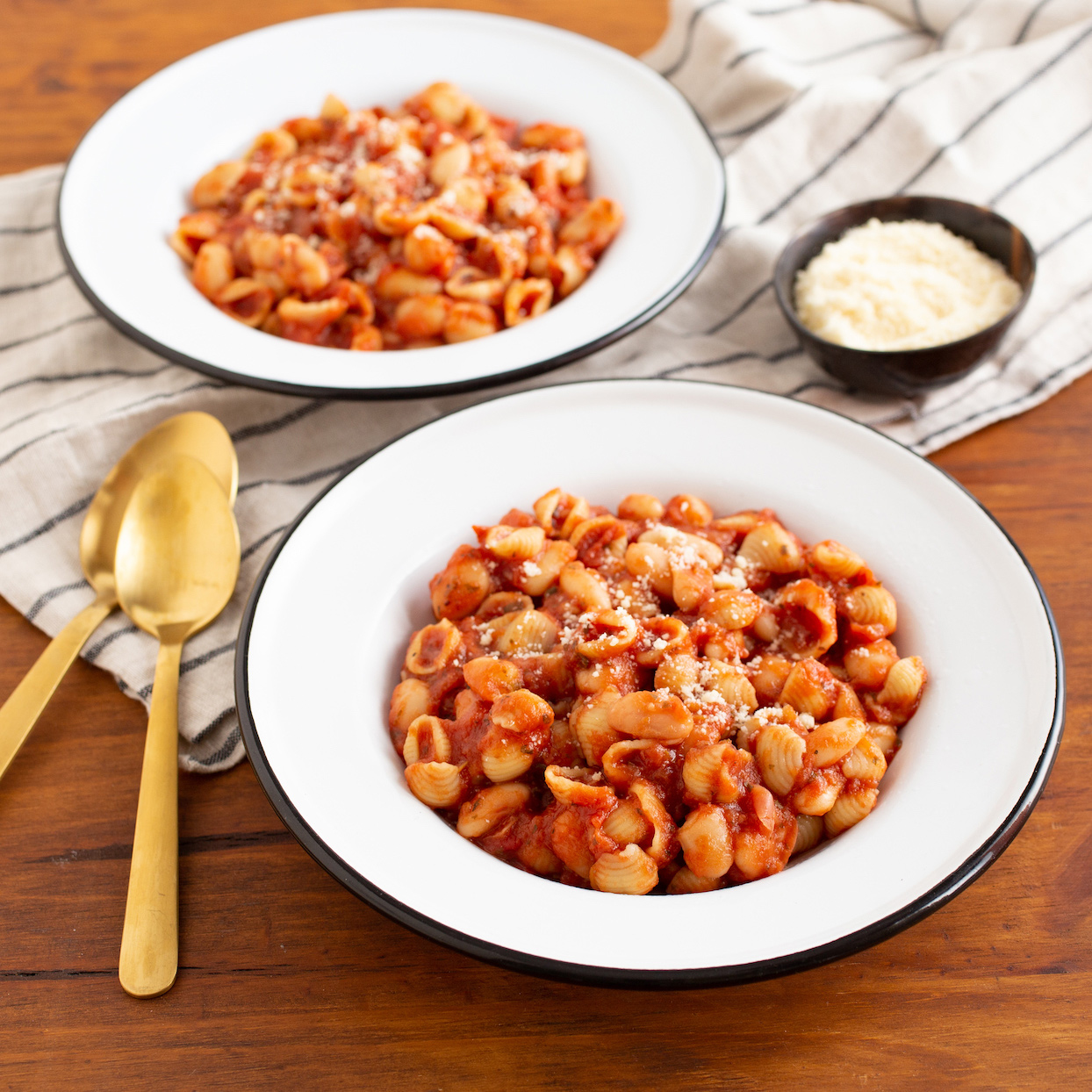 Bowls of Pasta Fagioli recipe