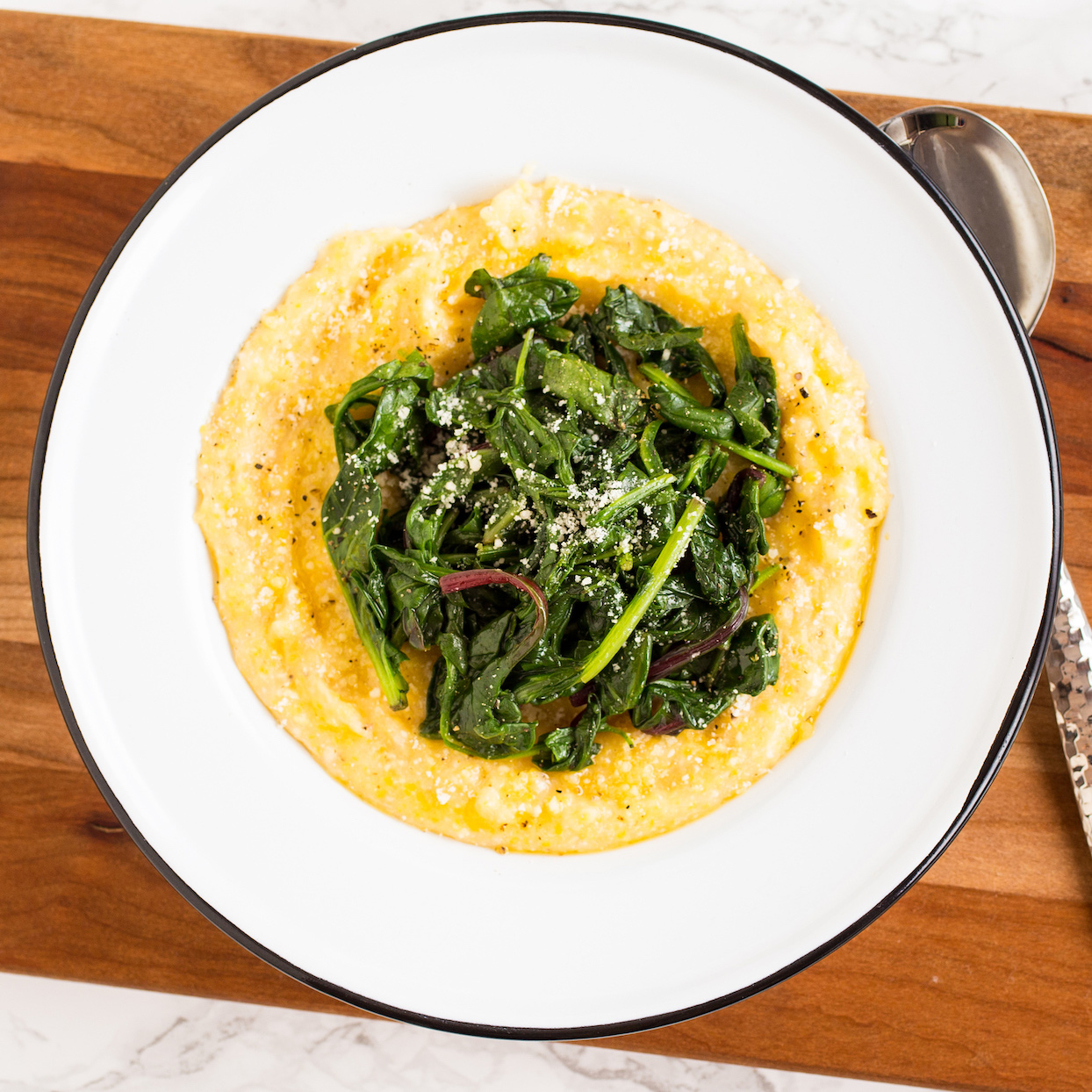 Bowl of Polenta and greens