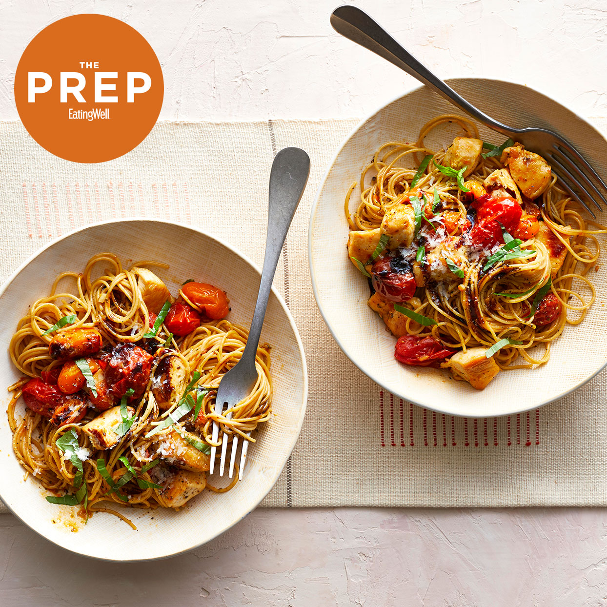 "2 bowls of mediterranean pasta with EatingWell's ""ThePrep"" logo"