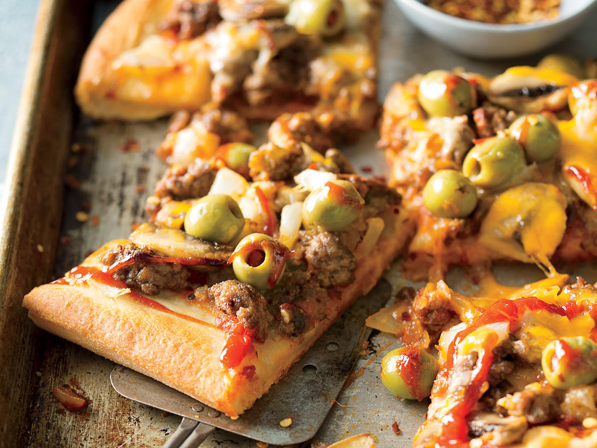 Slices of Cheeseburger Pizza