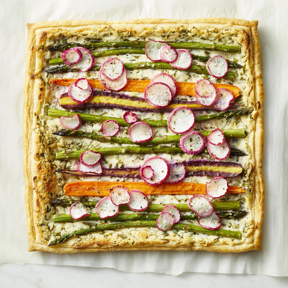Spring Vegetable Tart with color veggies