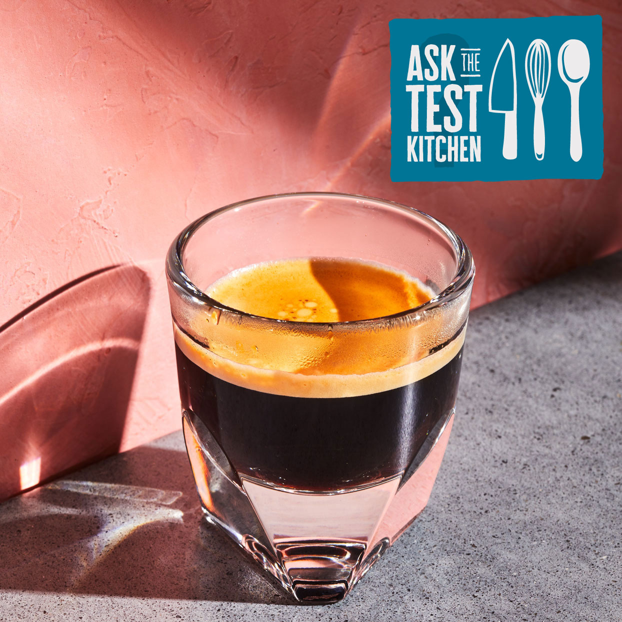 "glass cup of espresso with EatingWell's ""Ask the Test Kitchen"" logo"