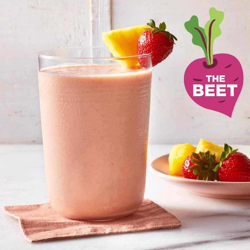 "Fruit Smoothie with ""TheBeet"" logo"