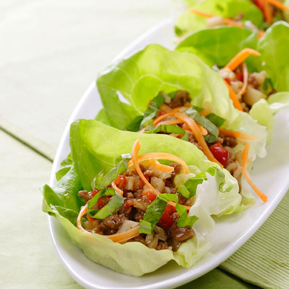 platter of wraps from the five spice turkey lettuce wraps recipe