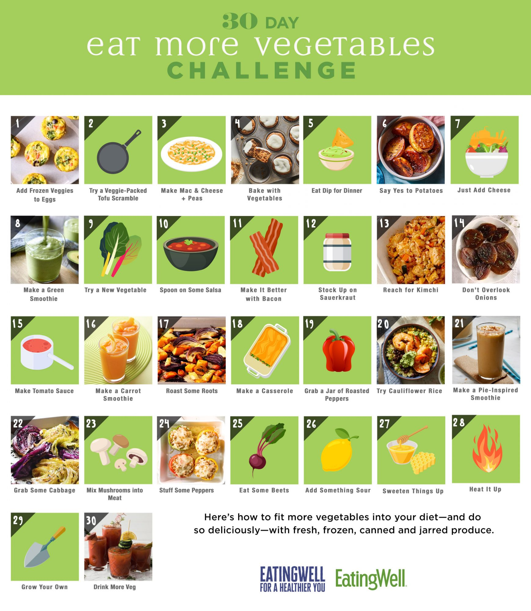 Eat More Vegetables 30-Day Calendar