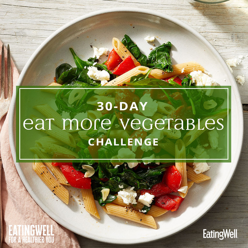 Eat More Vegetables Challenge Tile with Image of Roasted Red Pepper Penne in Bowl