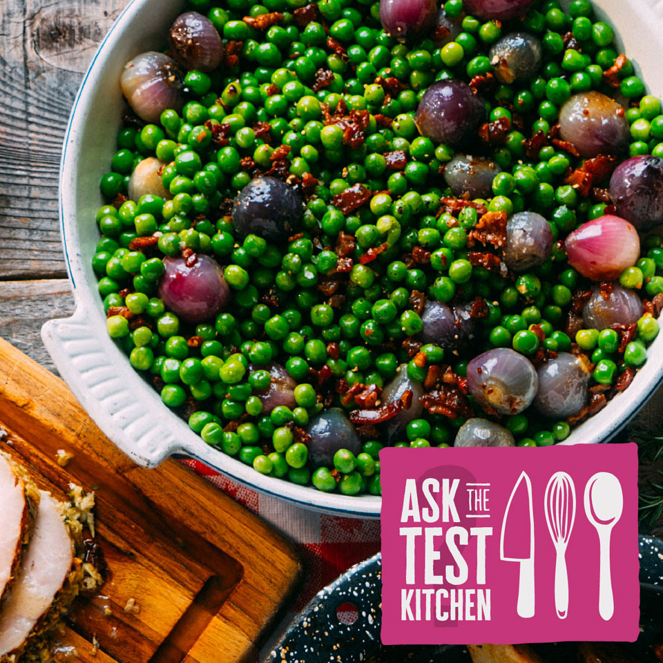 """bowl of green peas with EatingWell's """"Ask the Test Kitchen"""" logo"""