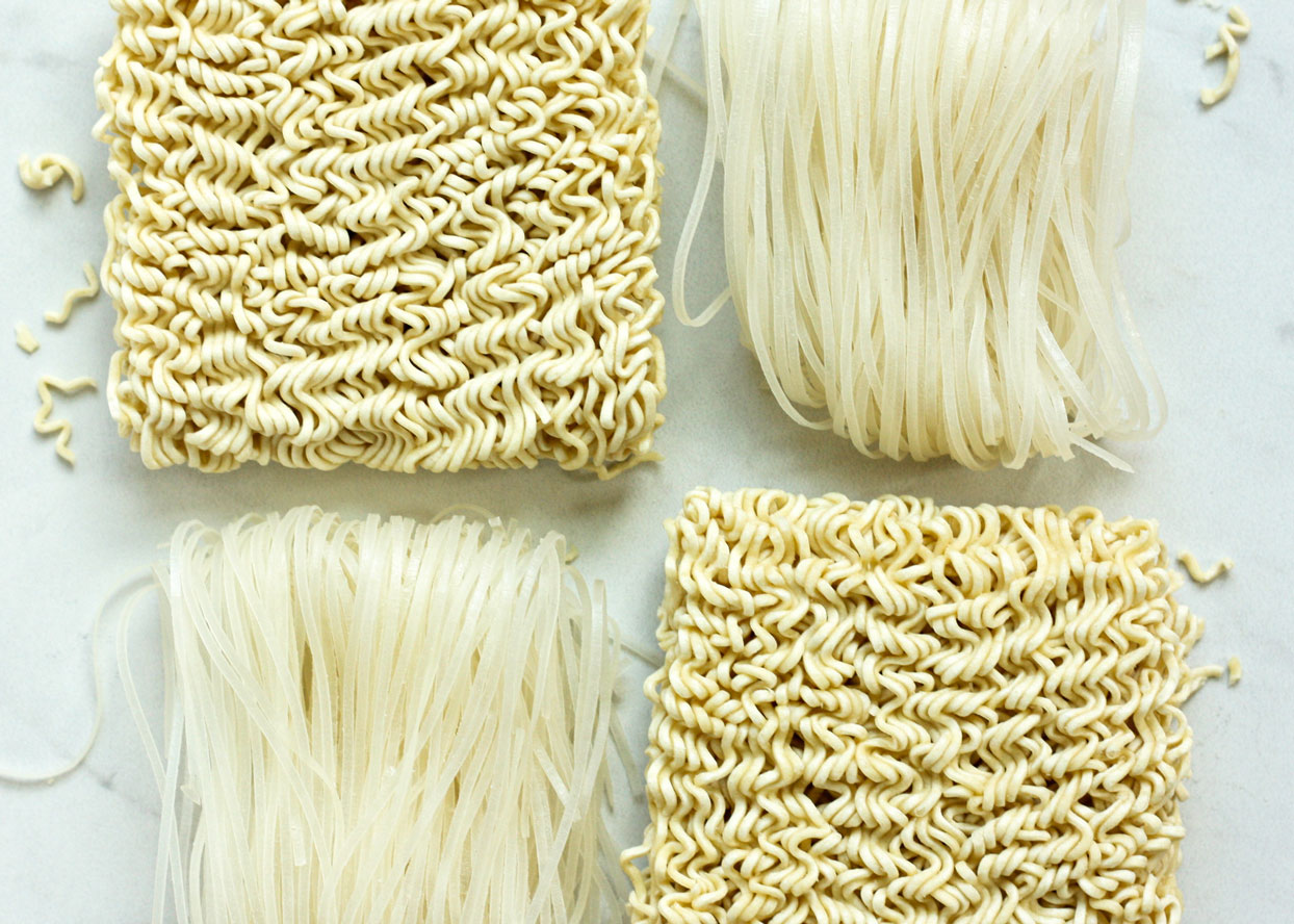 ramen noodles on white background