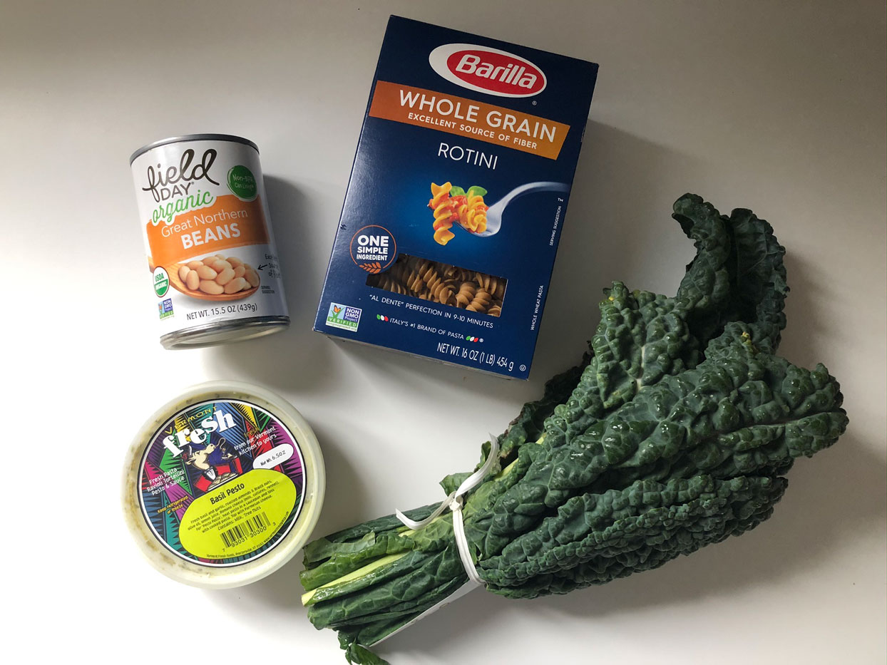pasta with beans kale and pesto