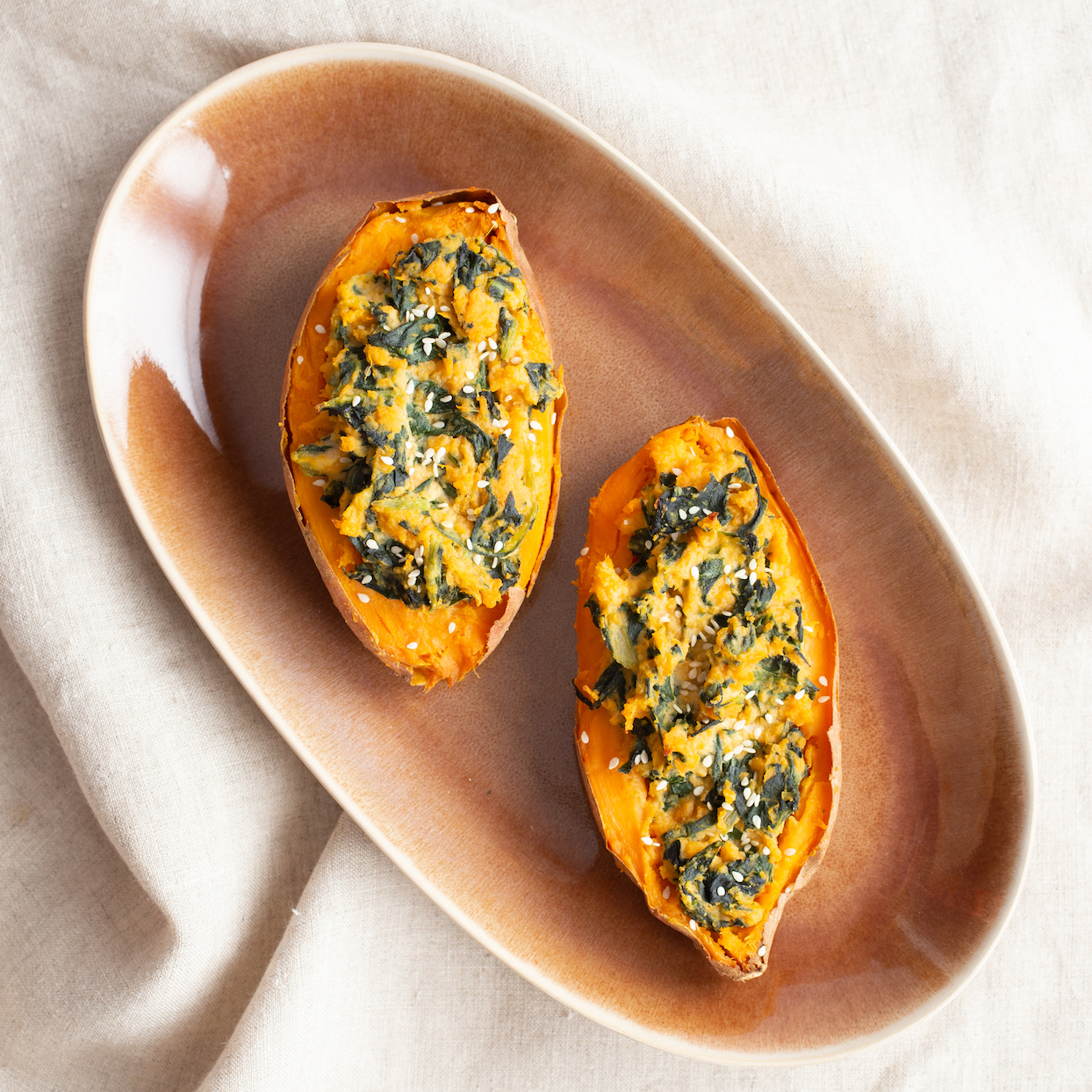 twice baked sweet potatoes with tahini