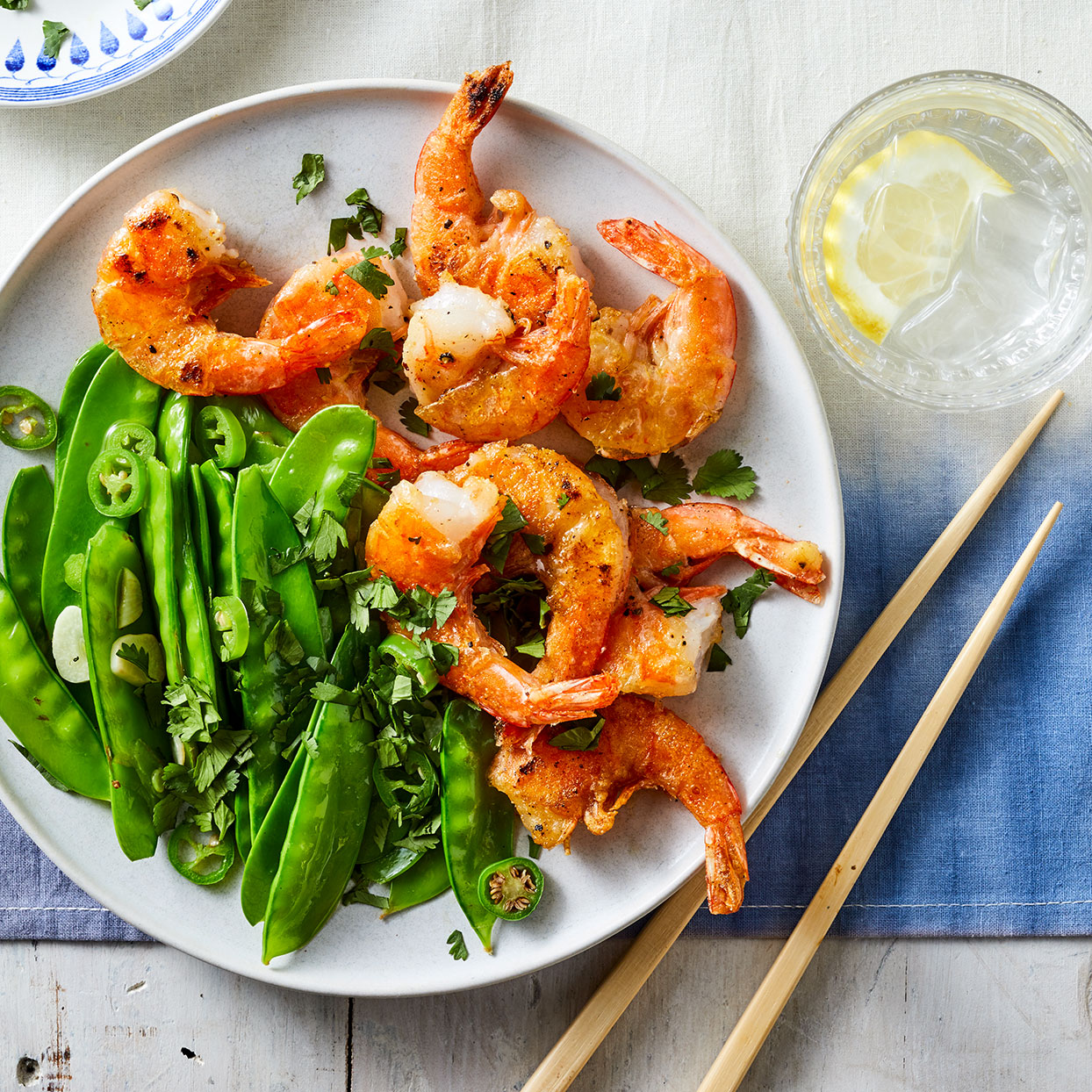 Salt & Pepper Shrimp with Snow Peas