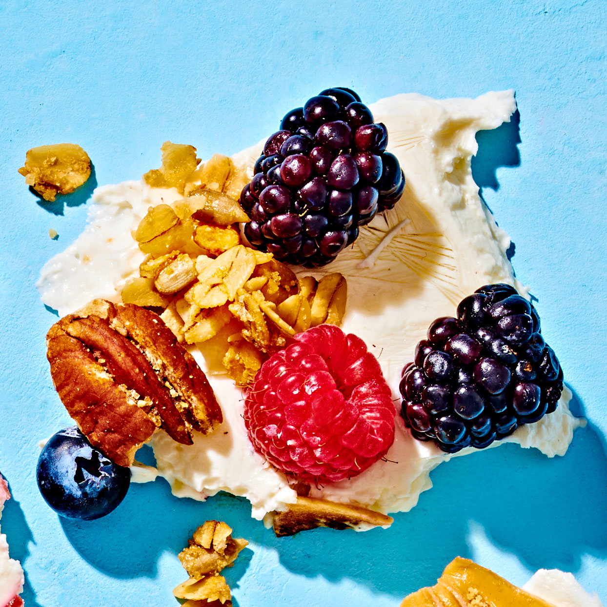 berries and granola yogurt bark