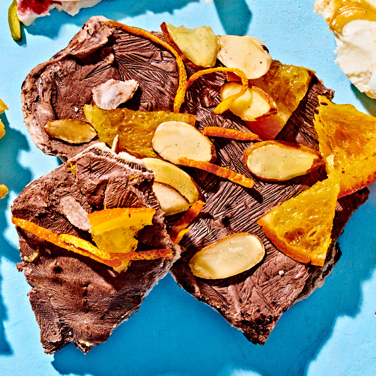 chocolate orange and almond yogurt bark