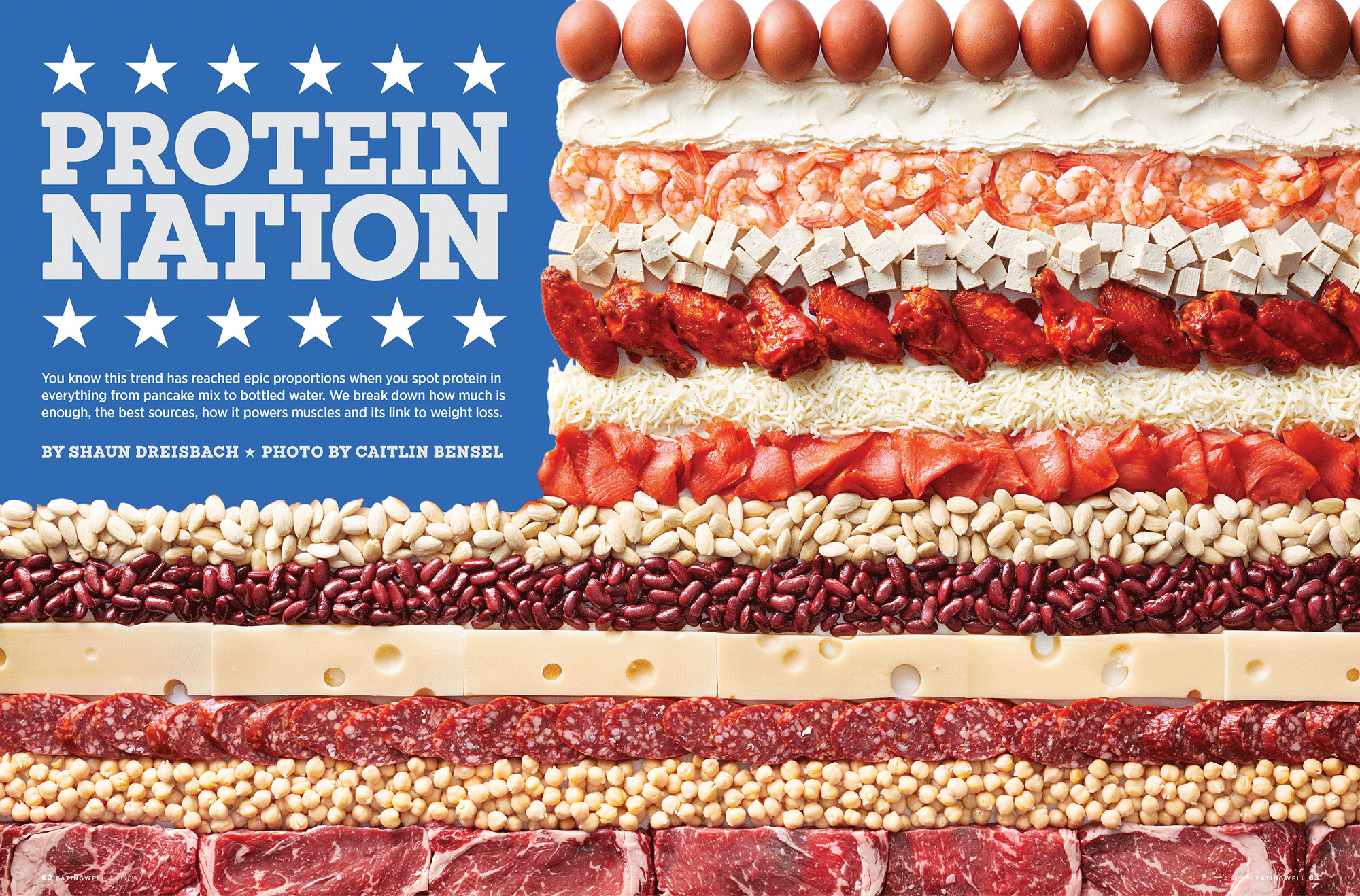 American flag made from different proteins