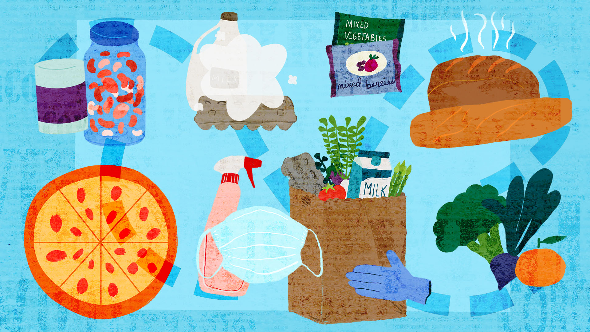 illustration of various foods on a blue background
