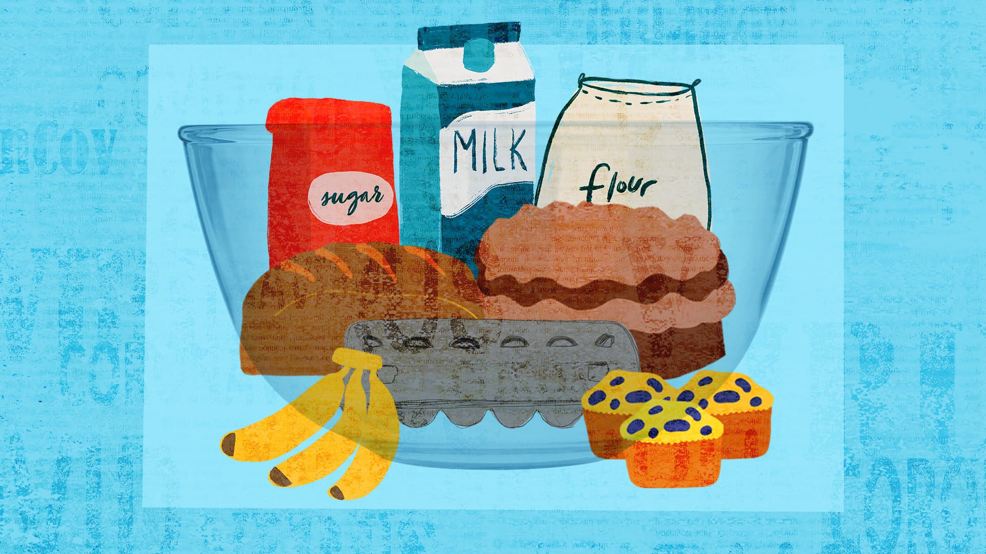 illustration of baking ingredients in a mixing bowl on a blue background