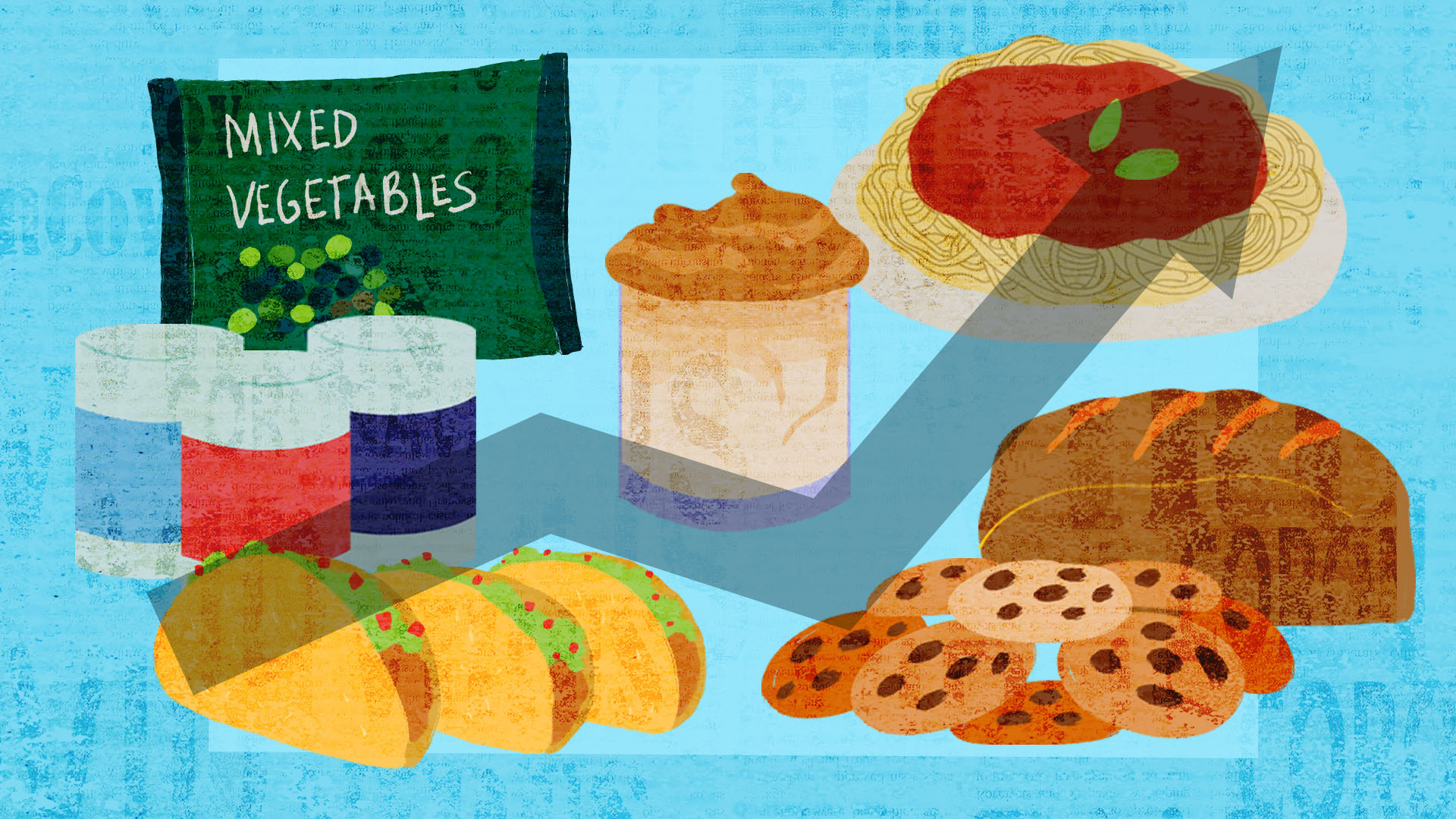 illustration of different foods on a blue background